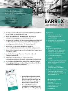 Barrex Lagertechnik GmbH Vorstellung 2017